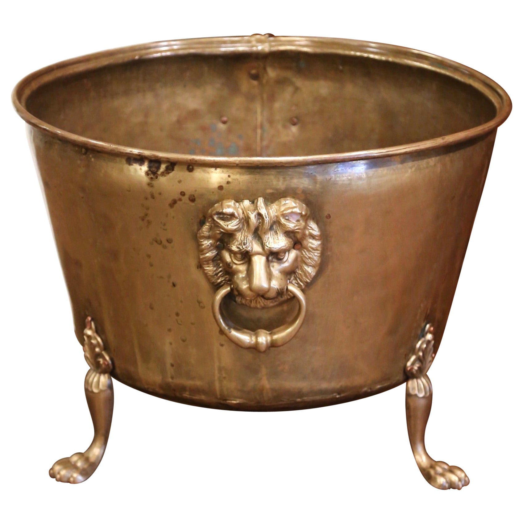 19th Century French Brass Cache-Pot Planter with Lion Head Handles