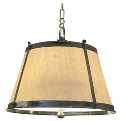 Stunning Linen and Polished Nickel Contemporary Chandelier