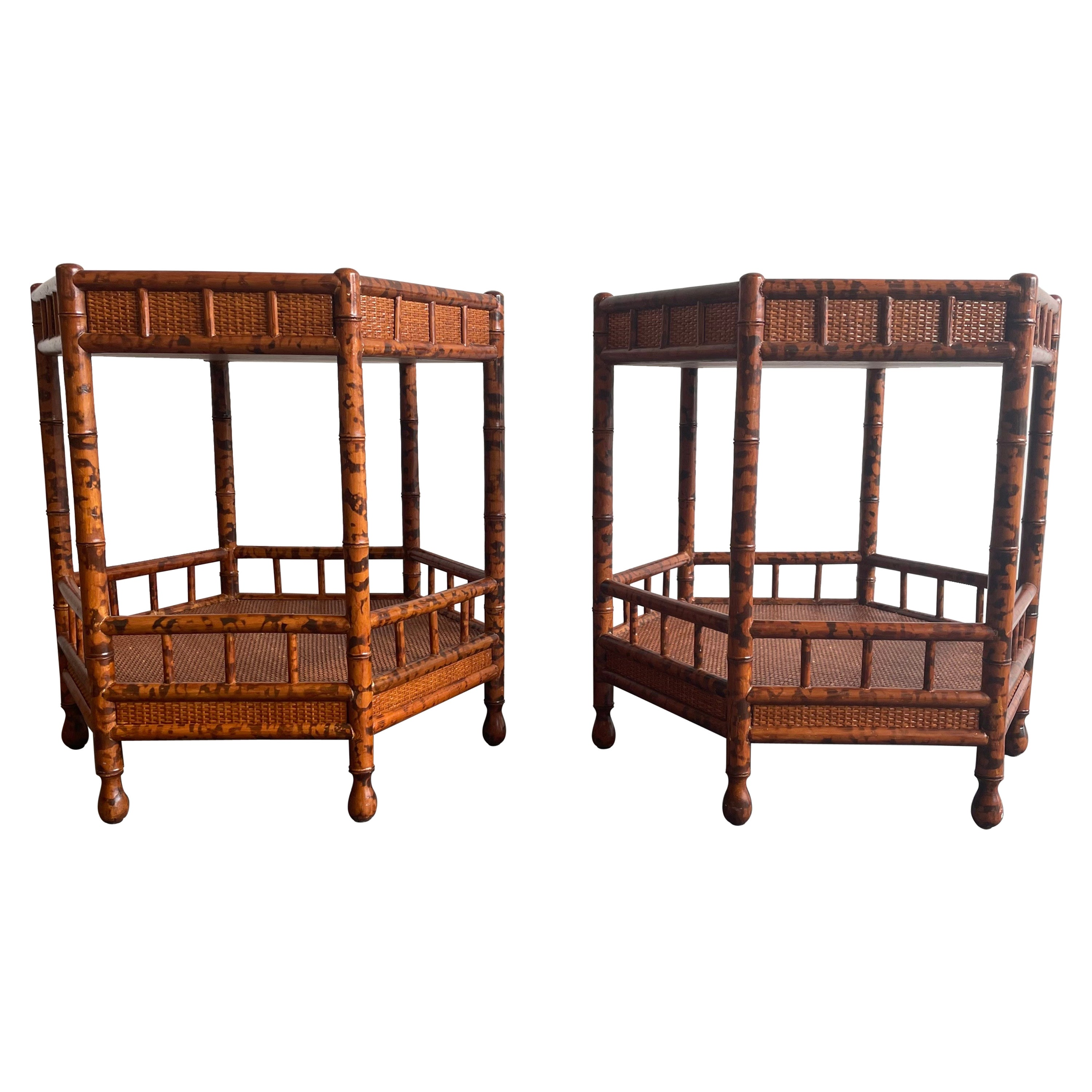 Faux Bamboo and Cane End Tables/ Nightstands