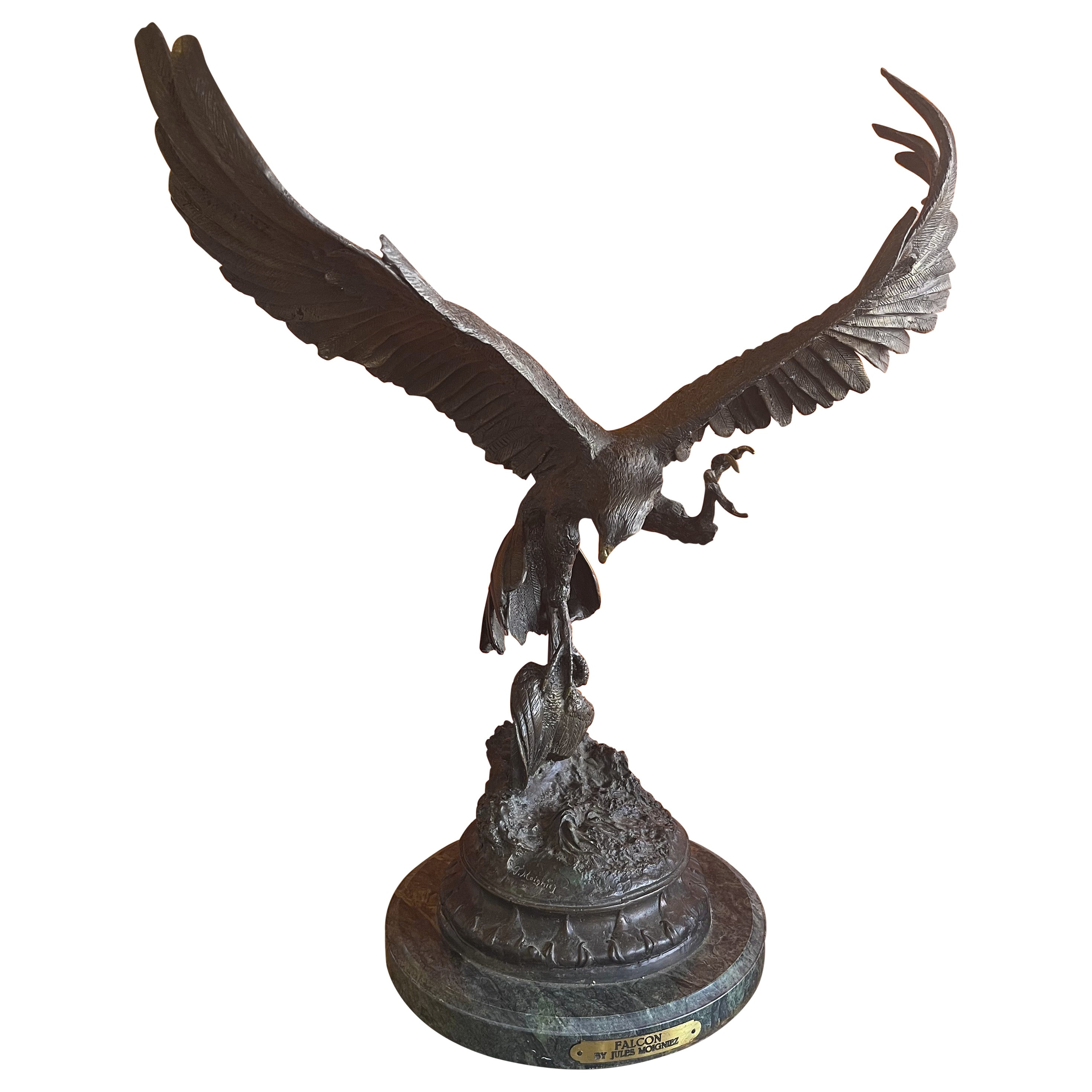 """Bronze """"Falcon"""" Sculpture on Marble Base by Jules Moigniez"""