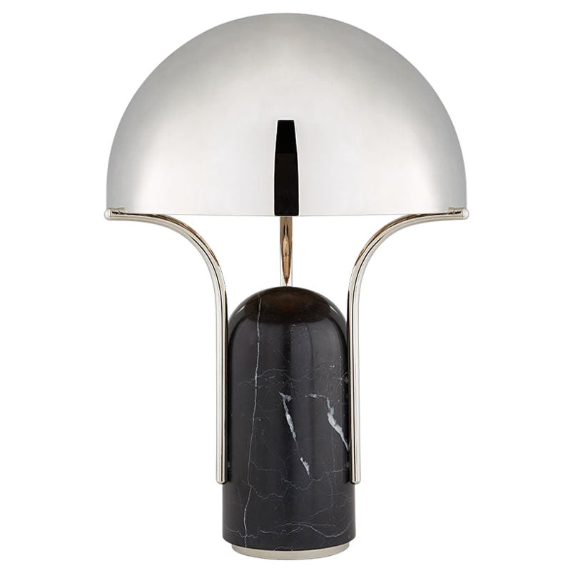 Affinity Dome Table Lamp, Black Marble, Polished Nickel Shade by Kelly Wearstler