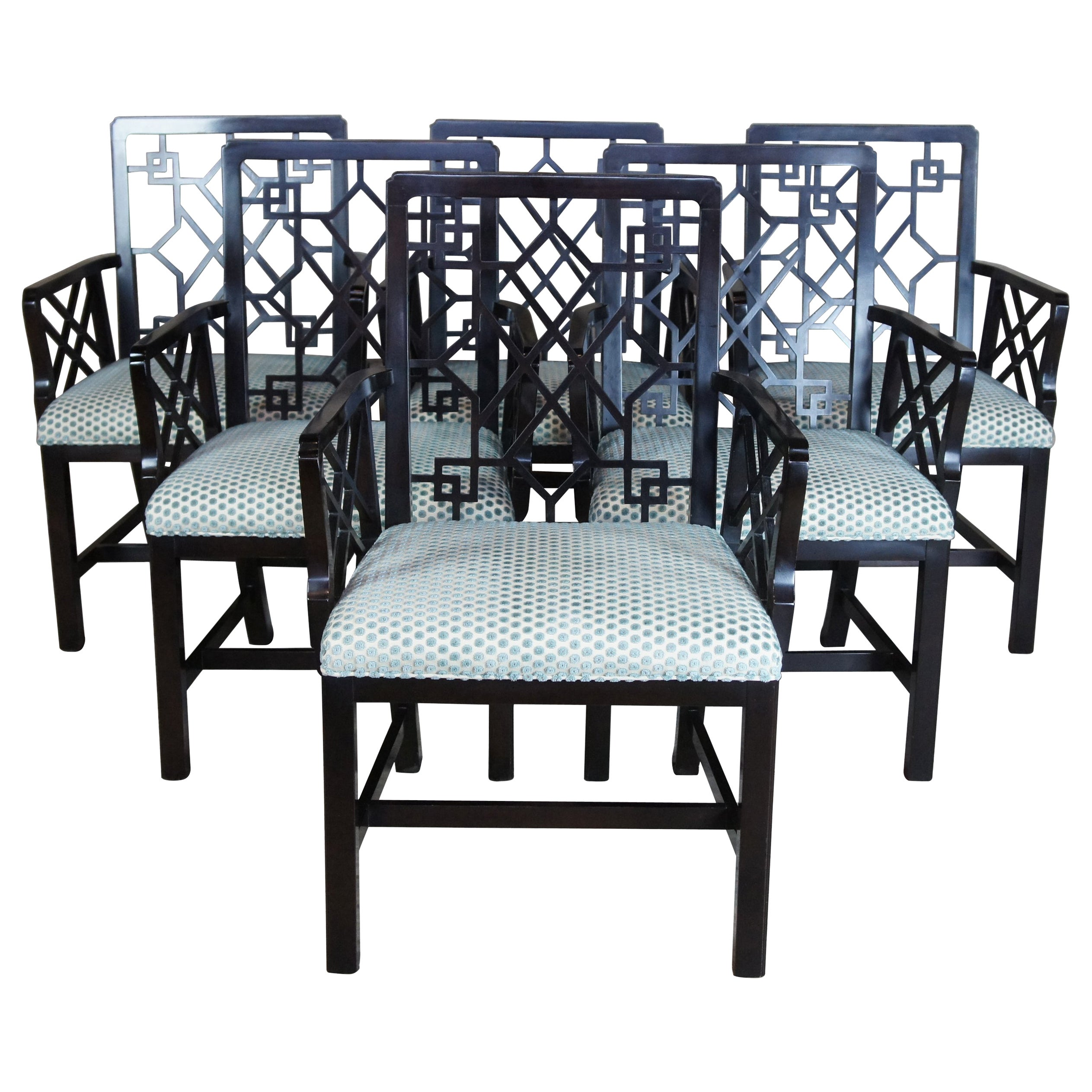 6 Baker Stately Homes Chinese Chippendale Lacquered Lattice-Back Dining Chairs