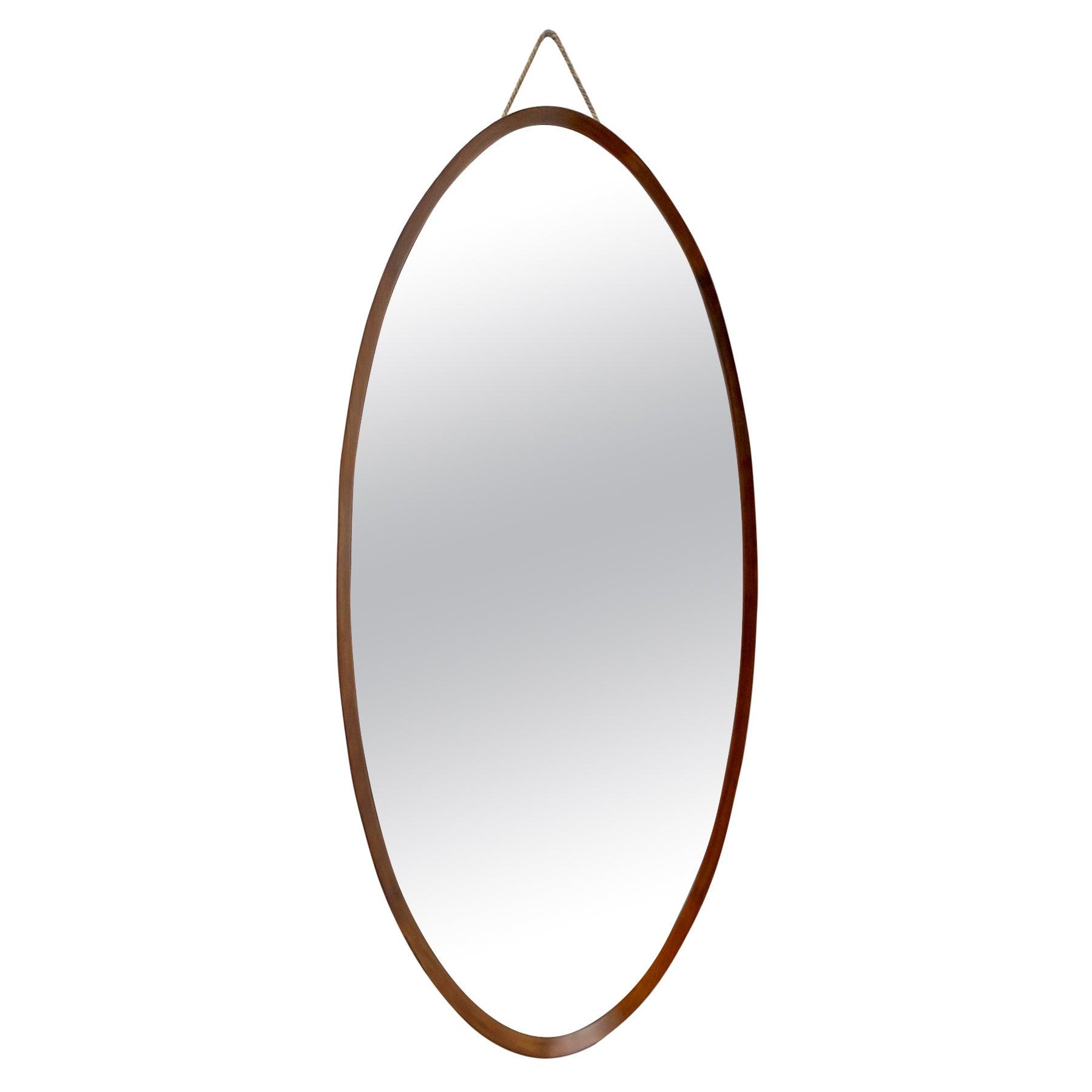 Campo E Graffi Mid-Century Modern Italian Mahogany Oval Mirror, 1970s