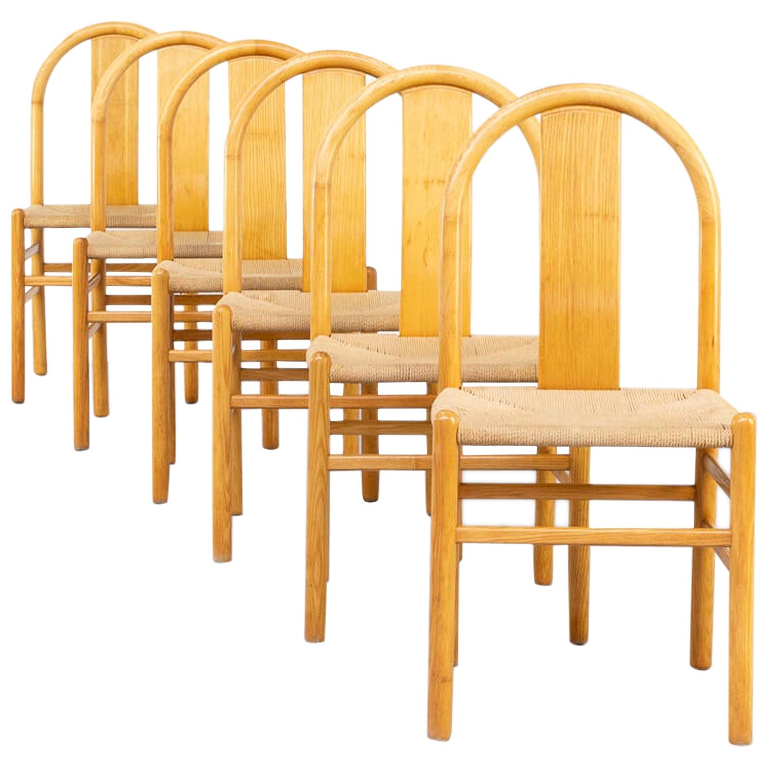 80s Annig Sarian Round Bend Wooden Dining Chair for Tisettanta Set/6
