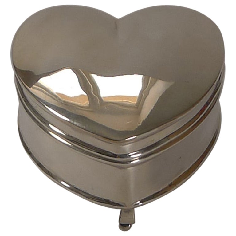 Antique English Sterling Silver Heart Shaped Trinket / Ring Box, 1911