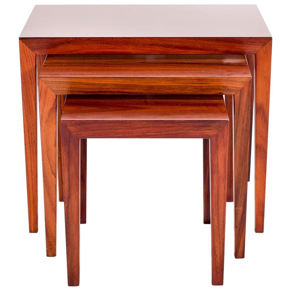 Severin Hansen Rosewood Nesting Tables for Haslev, 1960