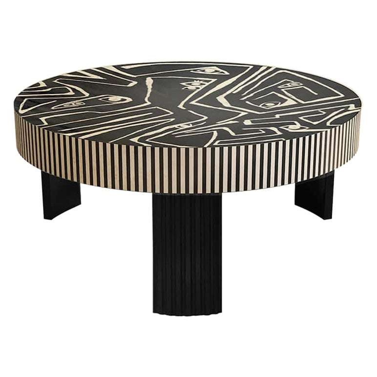Contemporary Picasso Center Coffee Center Table in Wood Marquetry Black & White
