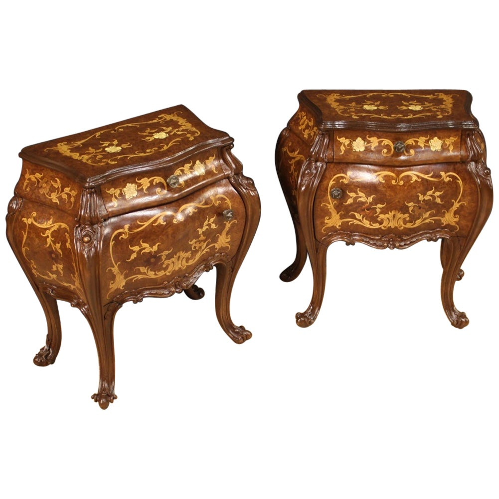 Pair of 20th Century Inlaid Wood Italian Bedside Tables, 1960