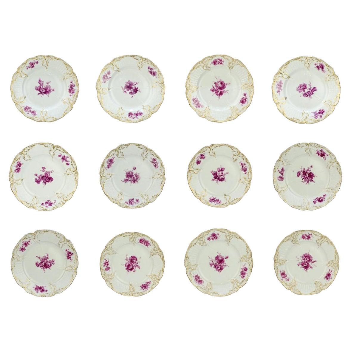 Set of 12 KPM Royal Berlin Porcelain Reliefzierat Dinner Plates in Puce