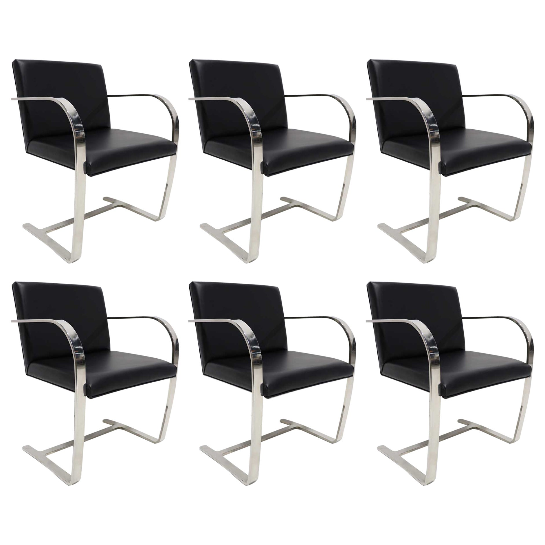 Set of Six Brno Chairs in Black Faux Leather