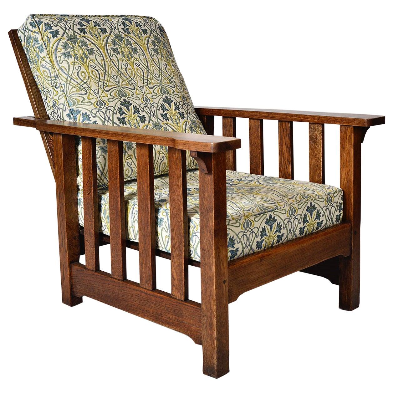 Antique Oak Morris Chair Recliner Gustav Stickley Mission Eastlake Arts & Crafts