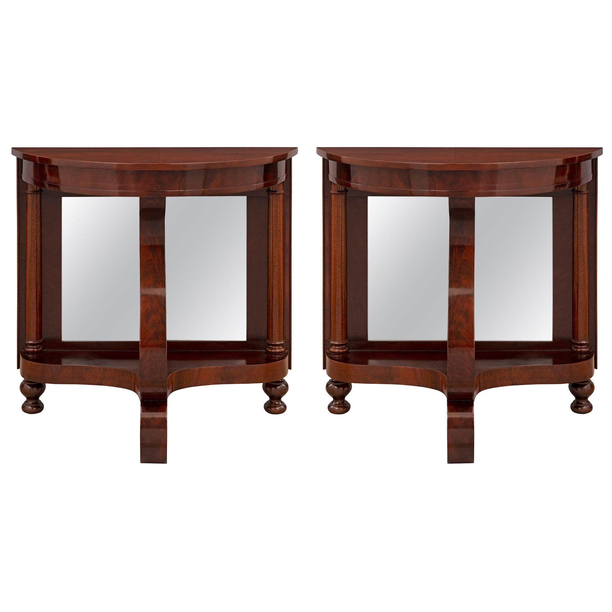 Pair of Late 19th Century French Empire Style Mahogany, Demilune Consoles