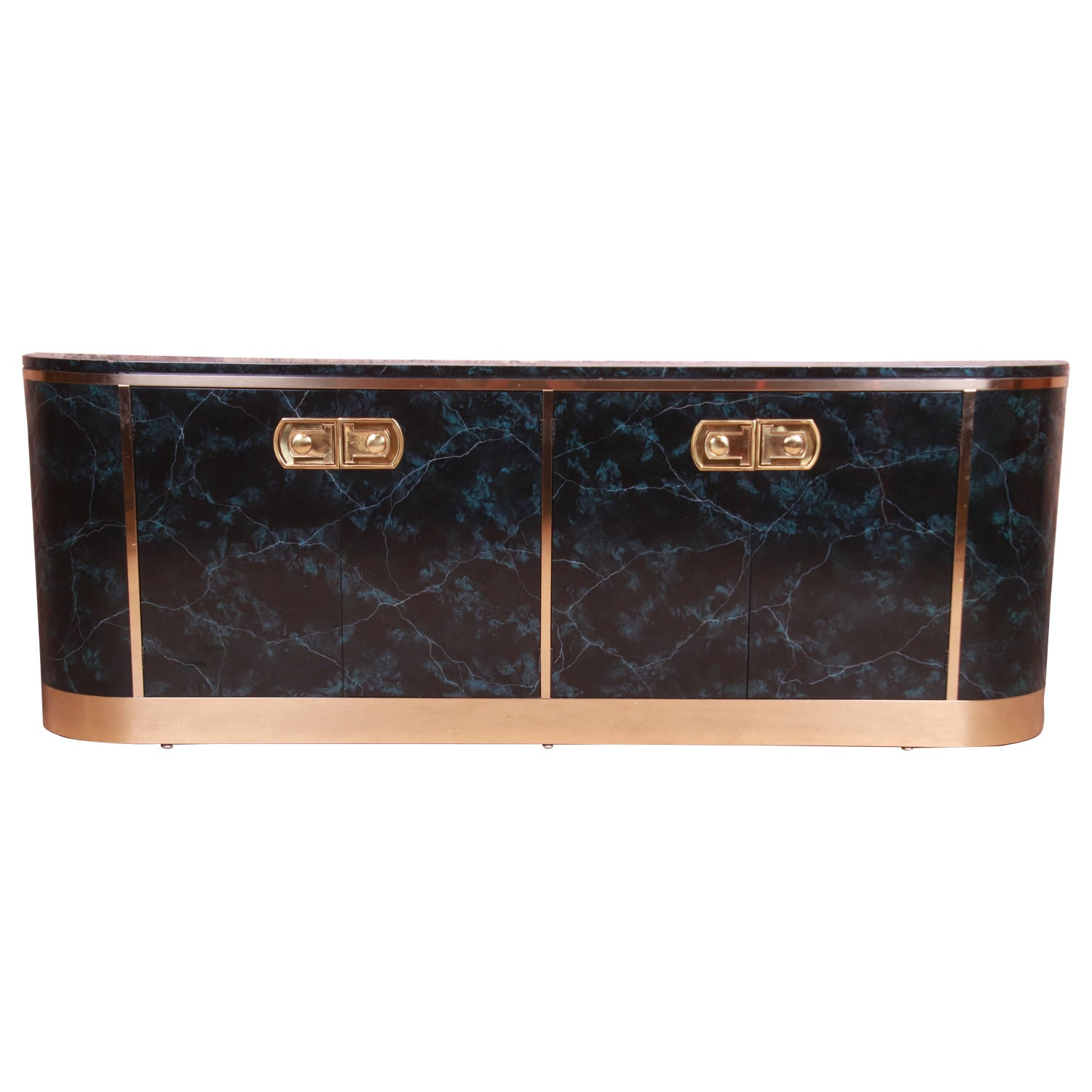 Mastercraft Hollywood Regency Faux Marble and Brass Sideboard Credenza