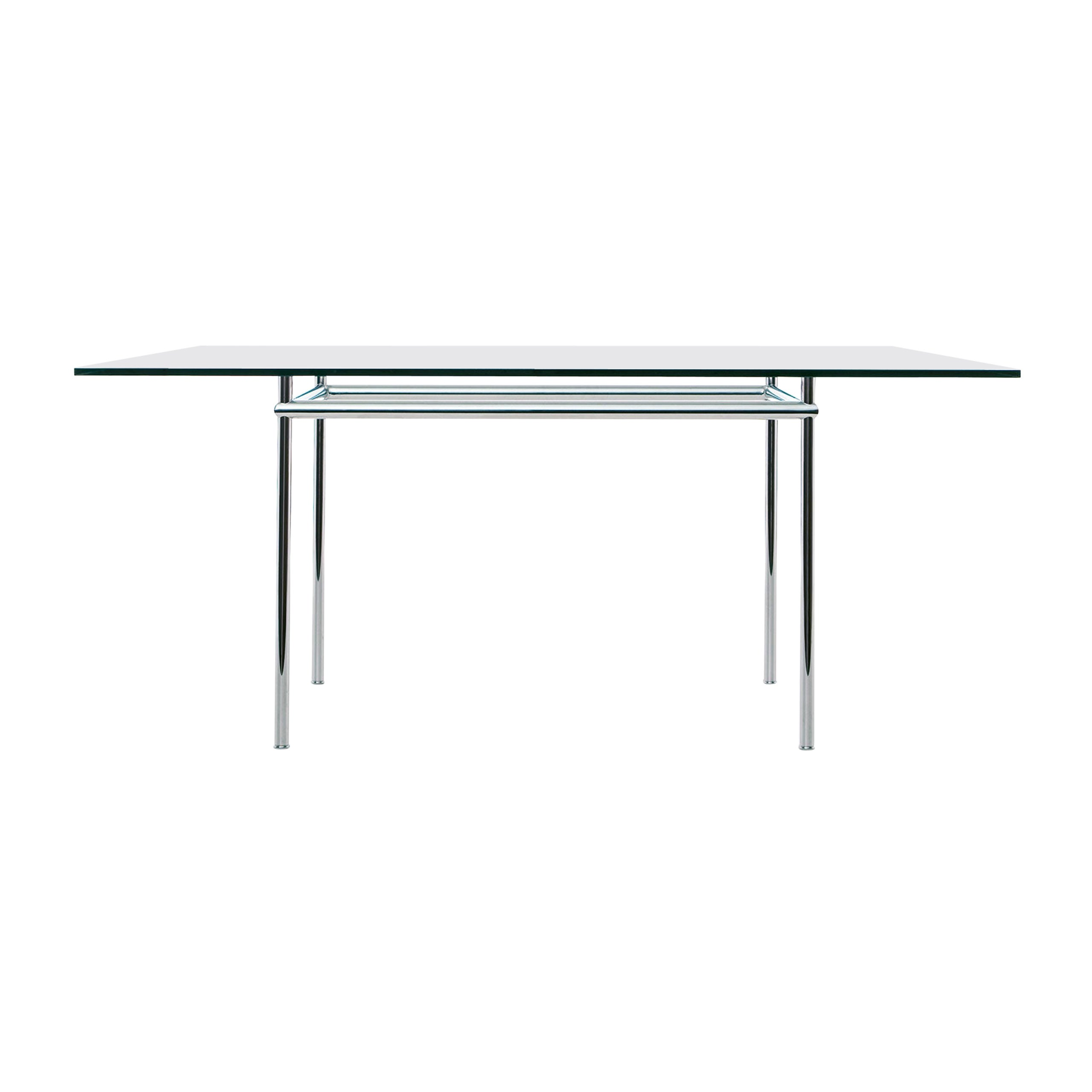 Pierre Jeanneret and Le Corbusier LC12 La Roche Table, Steel and Glass