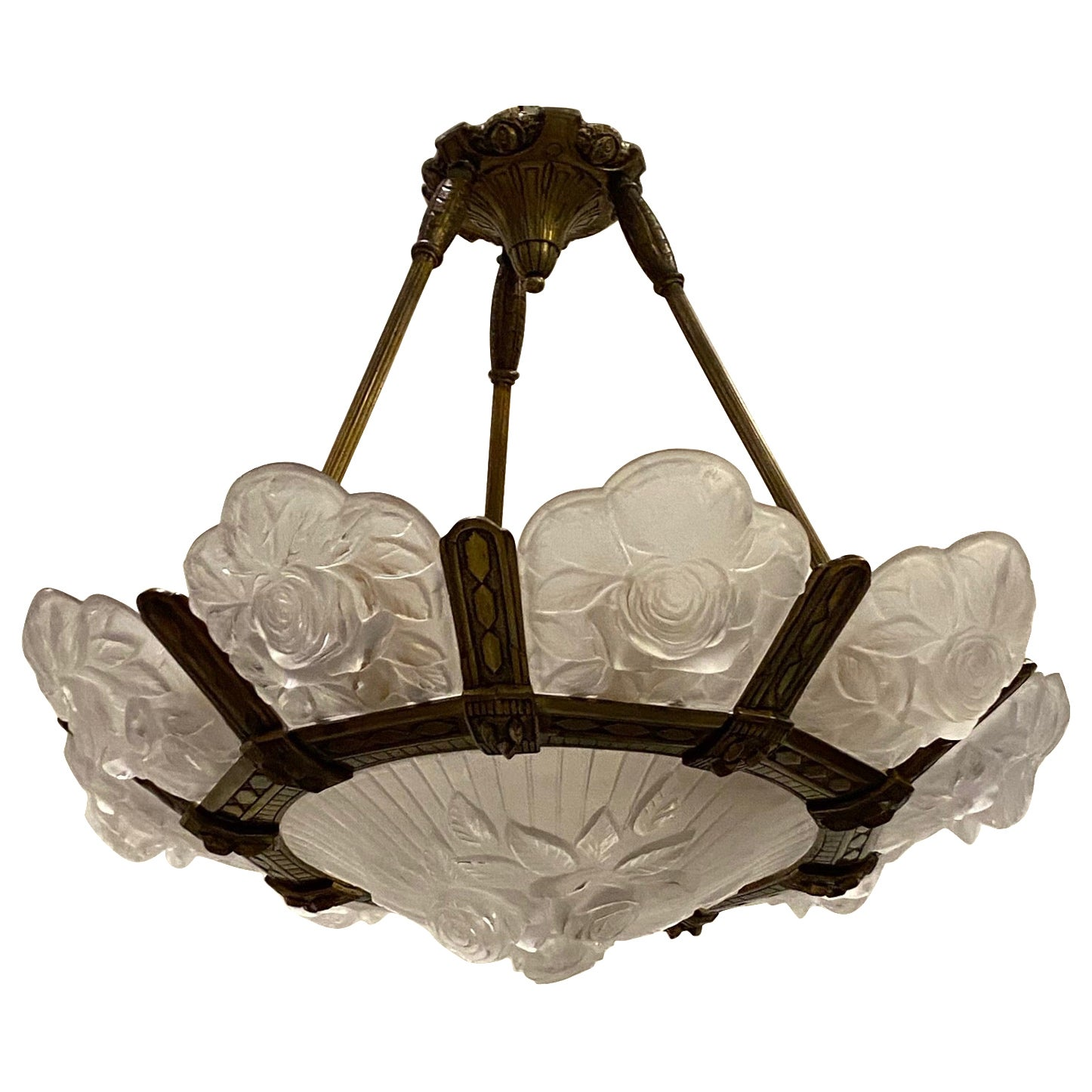 French Art Deco Floral Chandelier