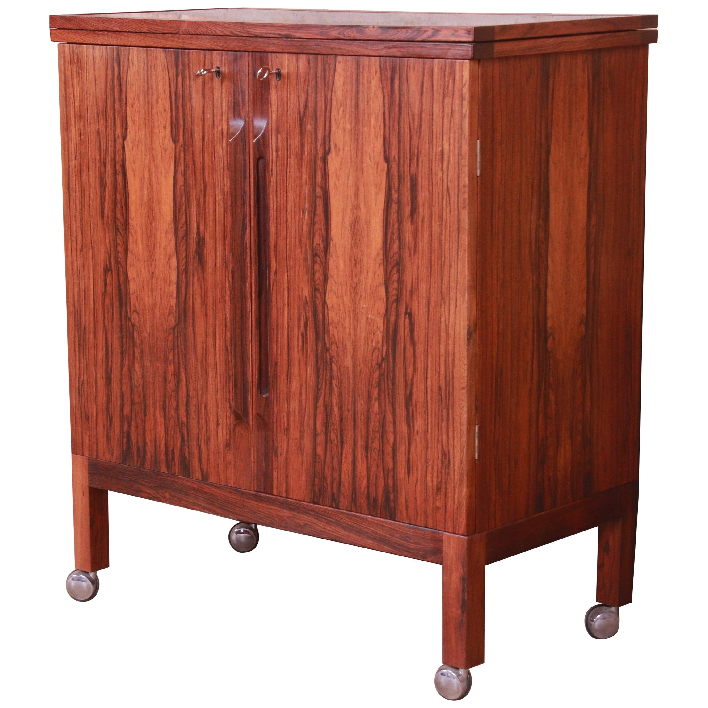 Torbjørn Afdal for Bruksbo Scandinavian Modern Rosewood Bar Cart, 1960s