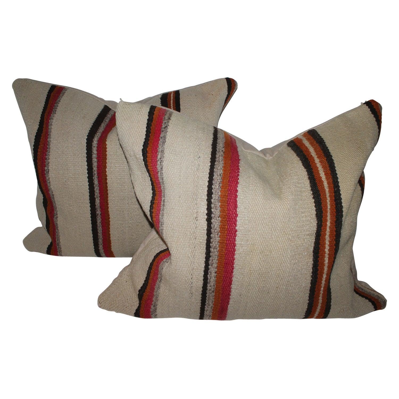 Early Navajo Indian Weaving Saddle Blanket Pillows, Pair