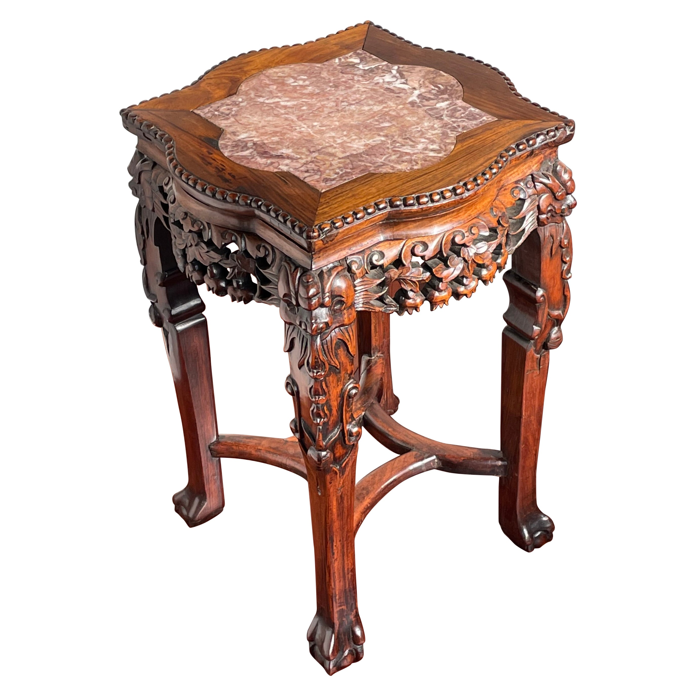 Antique Carved Chinese Mahogany & Marble Plant Stand / End Table with Signature