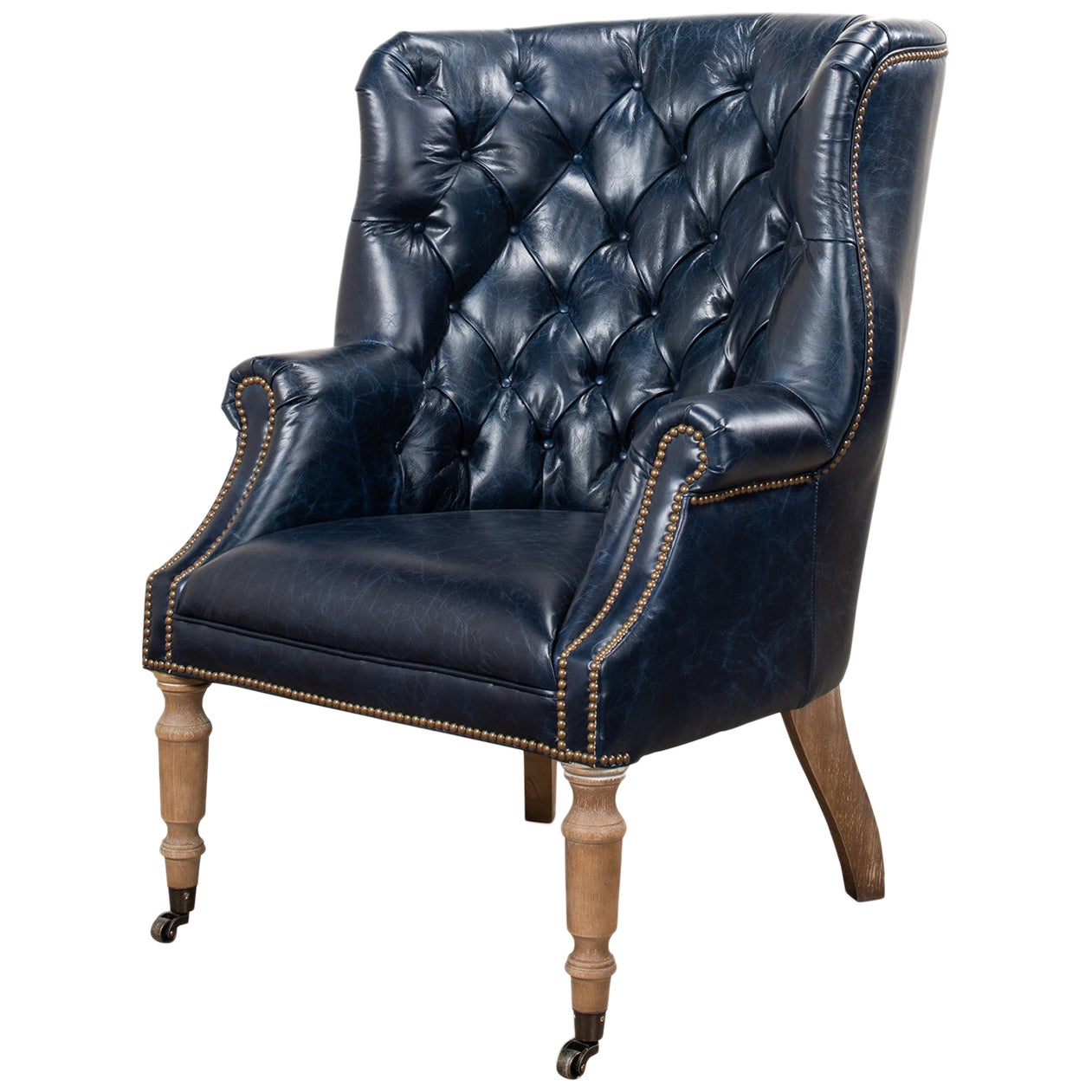Georgian Barrel Back Wingchair, Chateau Blue