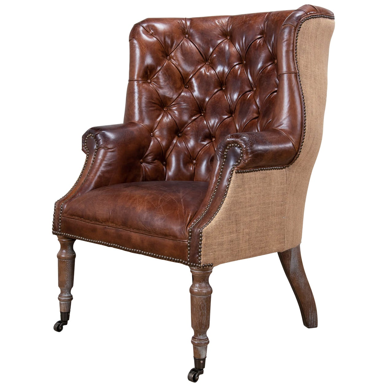 Georgian Barrel Back Jute Wingchair