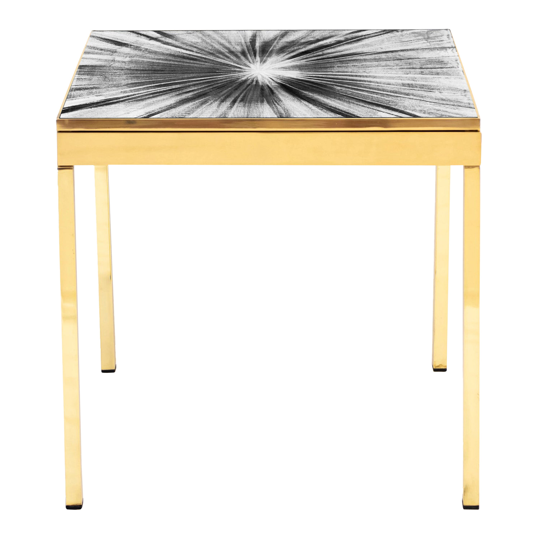 Rays V Black & White Brass Bedside Table by Allegra Hicks