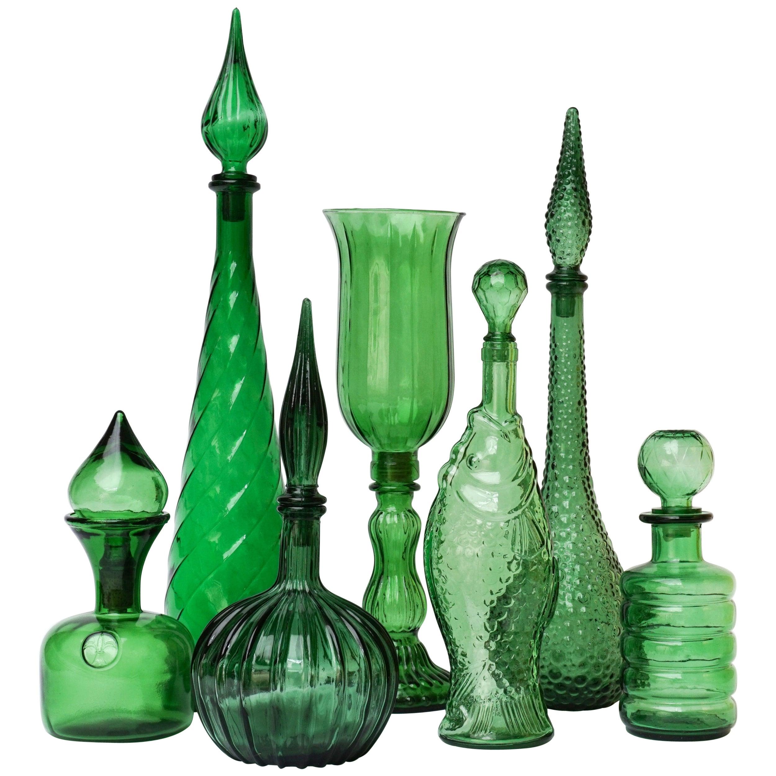 Set of Seven Italian Vintage 1960s Green Glass Empoli 'Genie' Bottles Decanters
