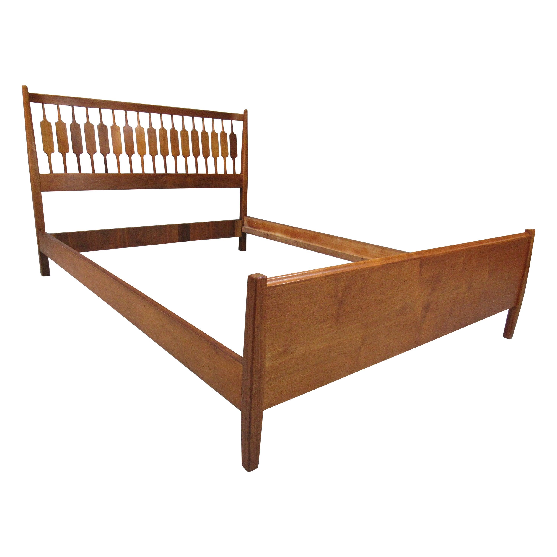 1960s Mid-Century Modern Solid Walnut Full Double Bed by Kipp Stewart for Drexel