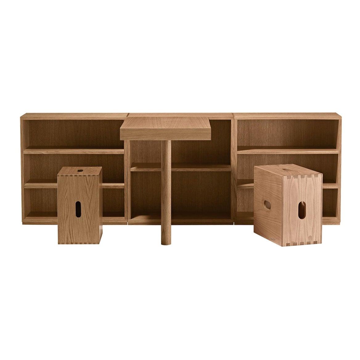 Le Corbusier LC16 Desk and Shelve with Maison du Brésil and Cabanon Stools Set