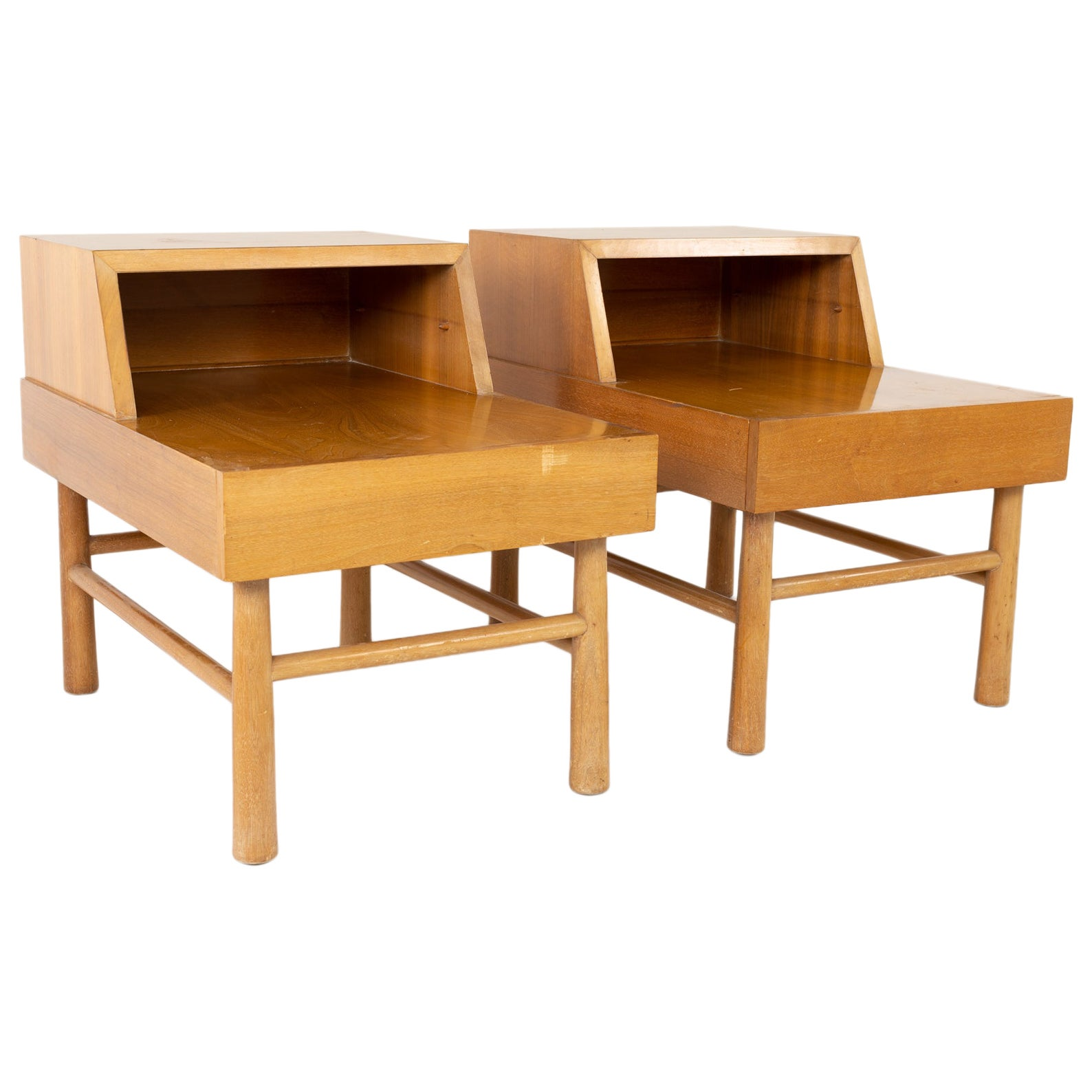 American of Martinsville Midcentury Blonde End Tables, Pair