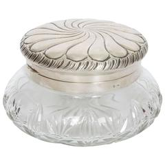German Cut Glass and Silver Top Bowl