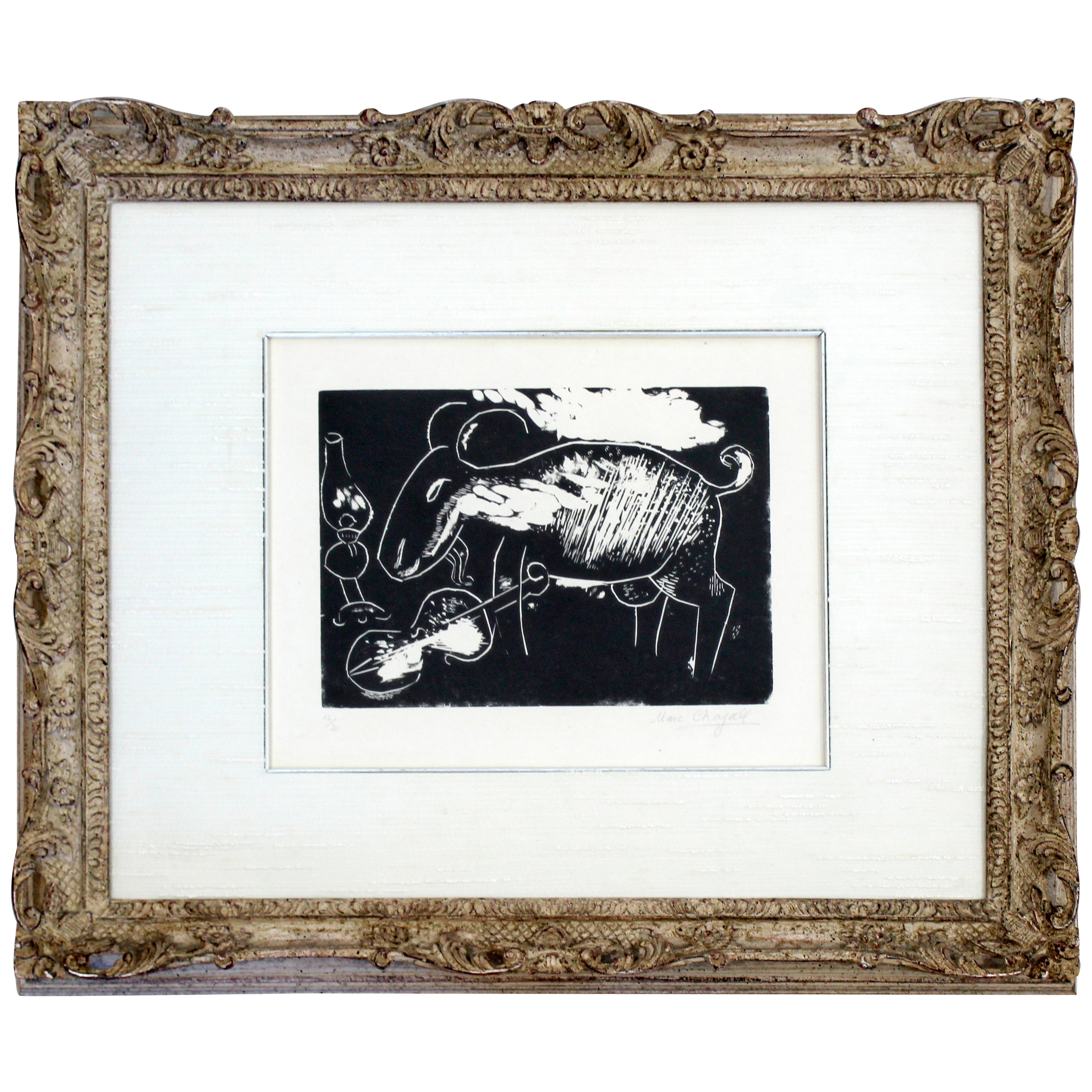 Ziege Mit Geige a Framed Woodcut by Marc Chagall Signed and Numbered 12/20
