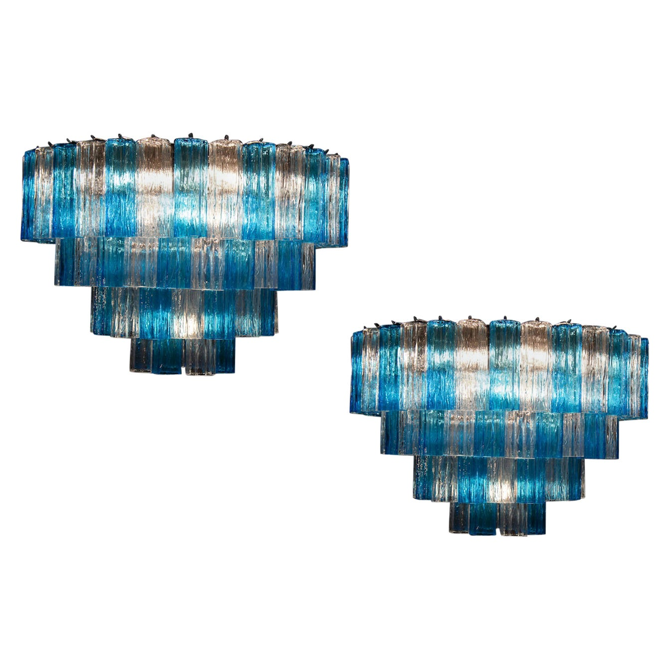 Pair of Murano Glass Turquoise and Ice Color Tronchi Chandelier Ceiling Light