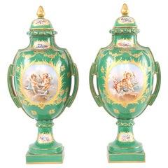 Pair Gilt Porcelain Dresden Covered Urns