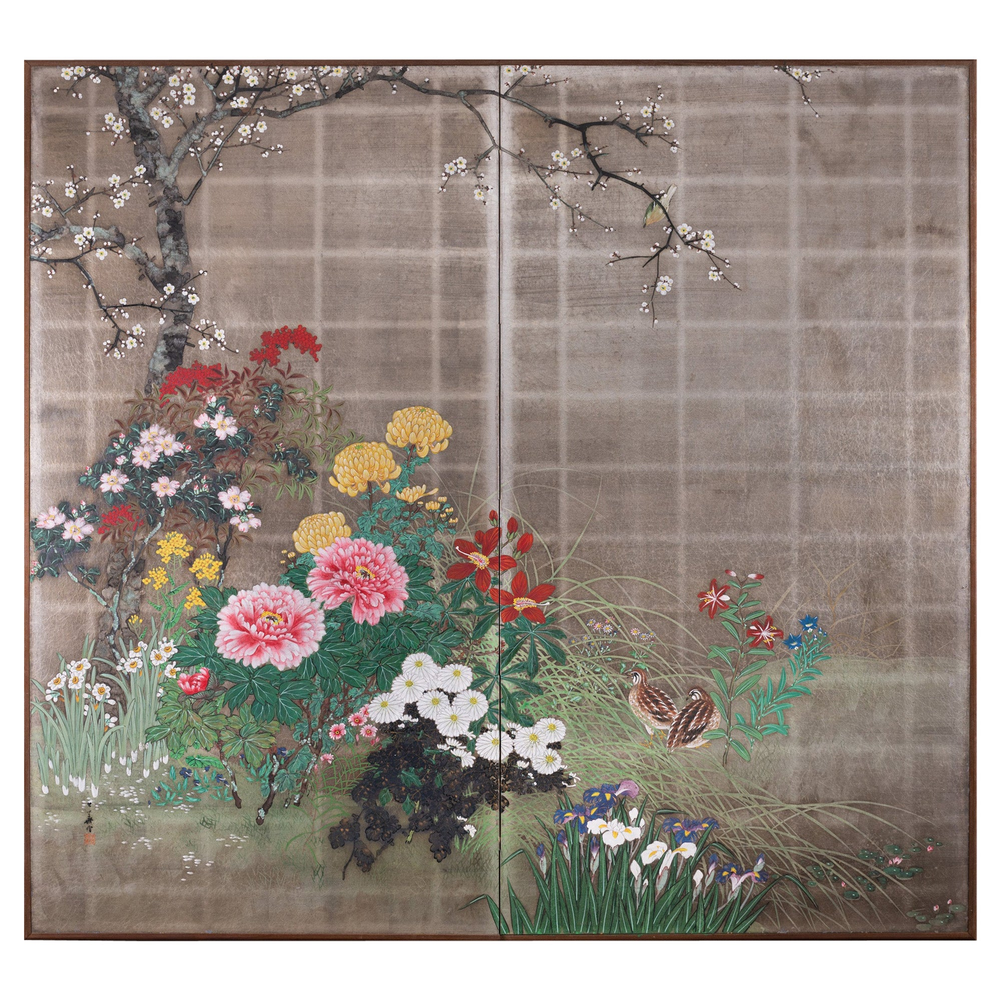 Japanese Two Panel Screen Summer Garden on Silver