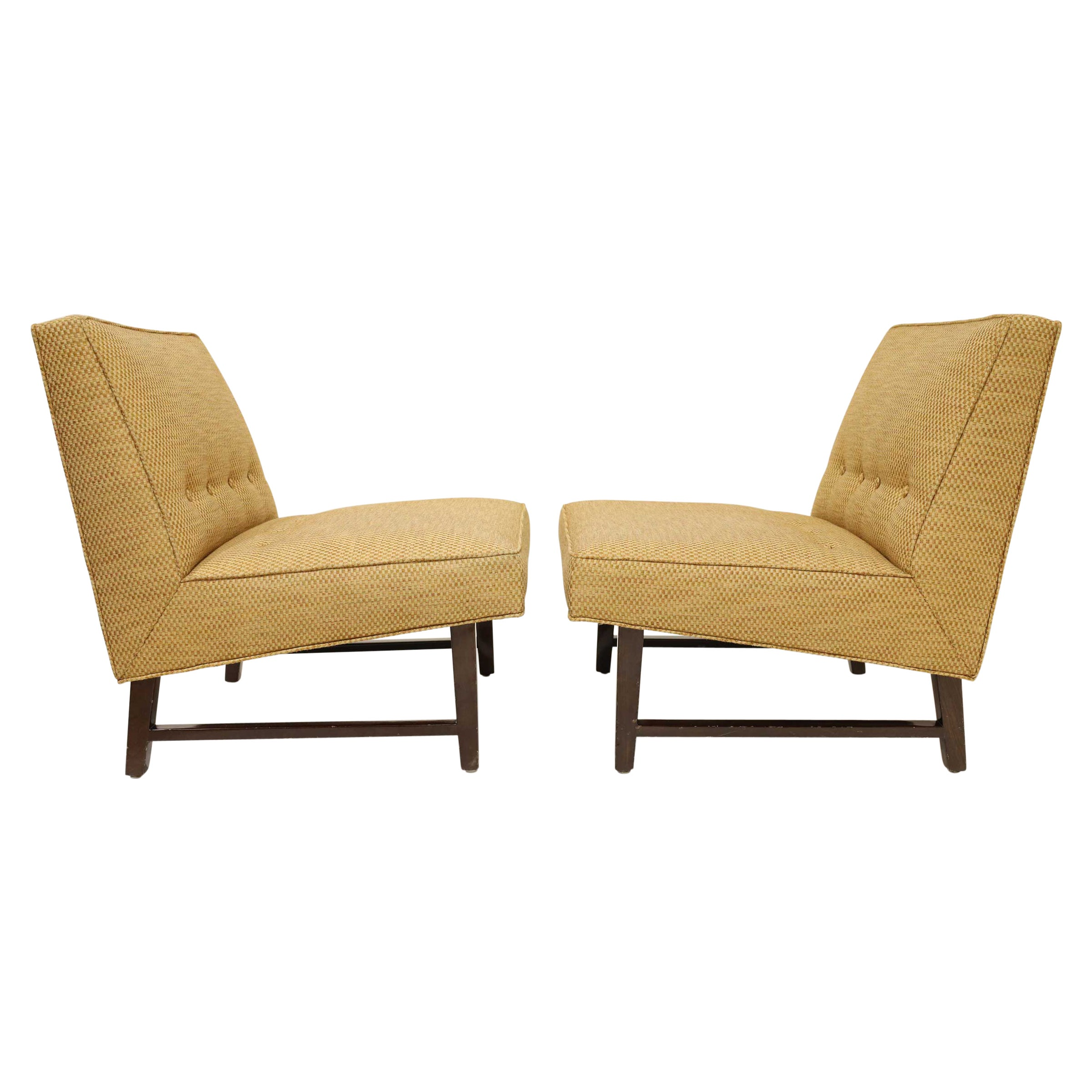 Pair of Edward Wormley for Dunbar Slipper Chairs in Gold Color Upholstery
