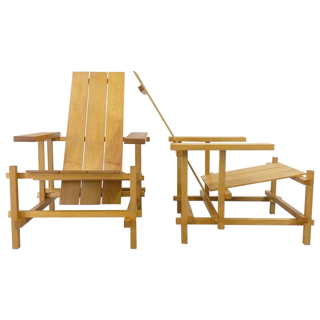 Gerrit Rietveld Style Lounge Chairs, a Pair