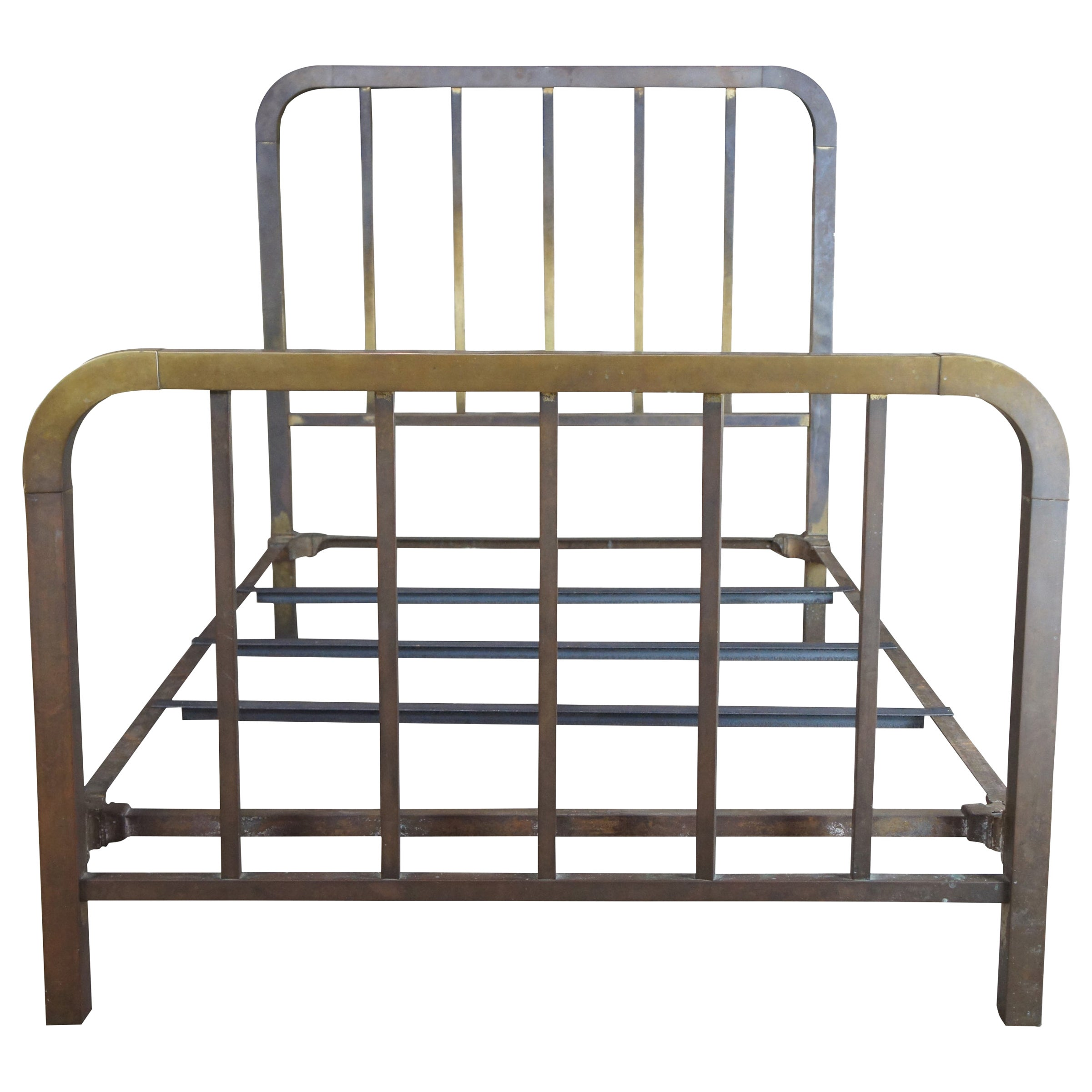 Antique 19th Century Victorian Brass Full or Double Size Curved Bed Frame Gold