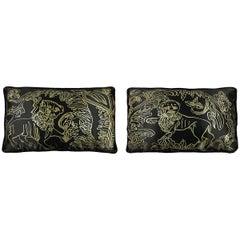 Pair Gold Lion Motif Silk Duchesse Satin Throw Pillows in Black
