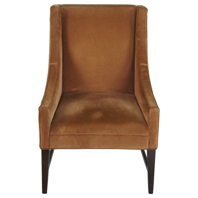 Vintage Brown Velvet Swoop Arm Slipper Club Chair Modern Library Side Accent