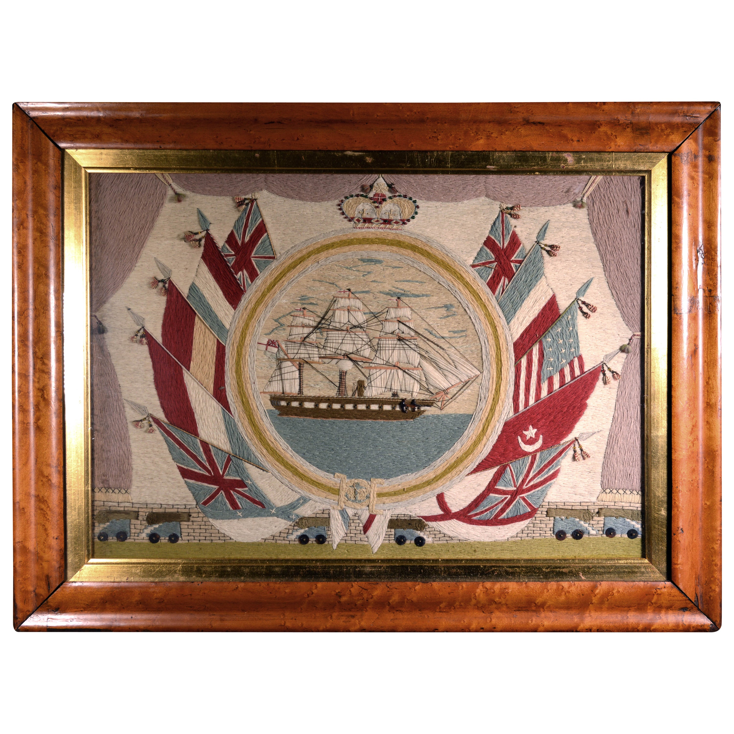 """British Sailor's Woolwork Flag of Nations"""" Woolie, Circa 1870"""
