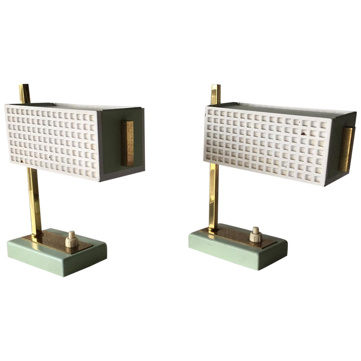Green and White Metal Pair of Table Lamps Style of Mathieu Matégot, 1950s