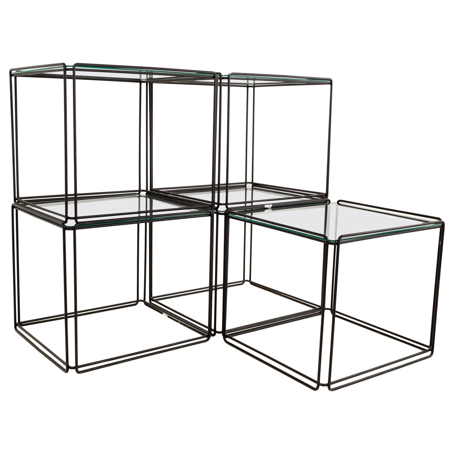 Max Sauze Isosceles MCM Iron Glass Stacking Side End Tables, Set of 5