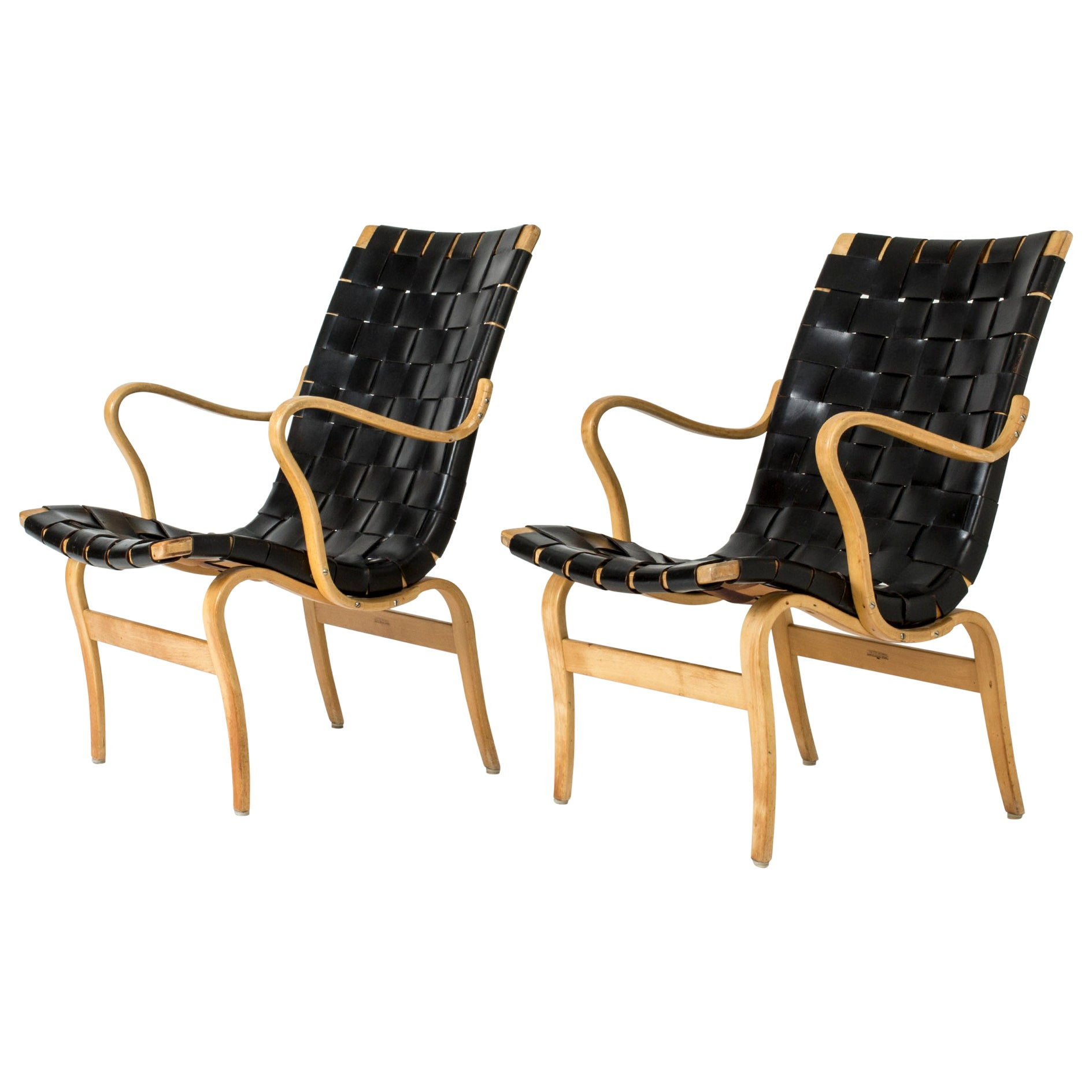 "Pair of ""Eva"" Chairs by Bruno Mathsson for Karl Mathsson, Sweden, 1967"