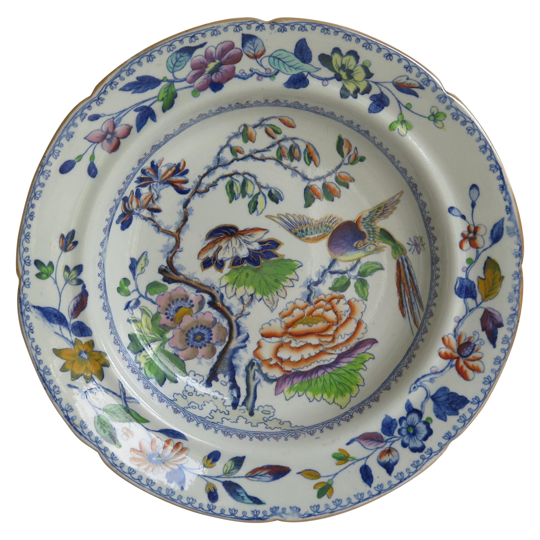 Georgian Davenport Soup Bowl or Plate Ironstone in Flying Bird Ptn, circa 1815
