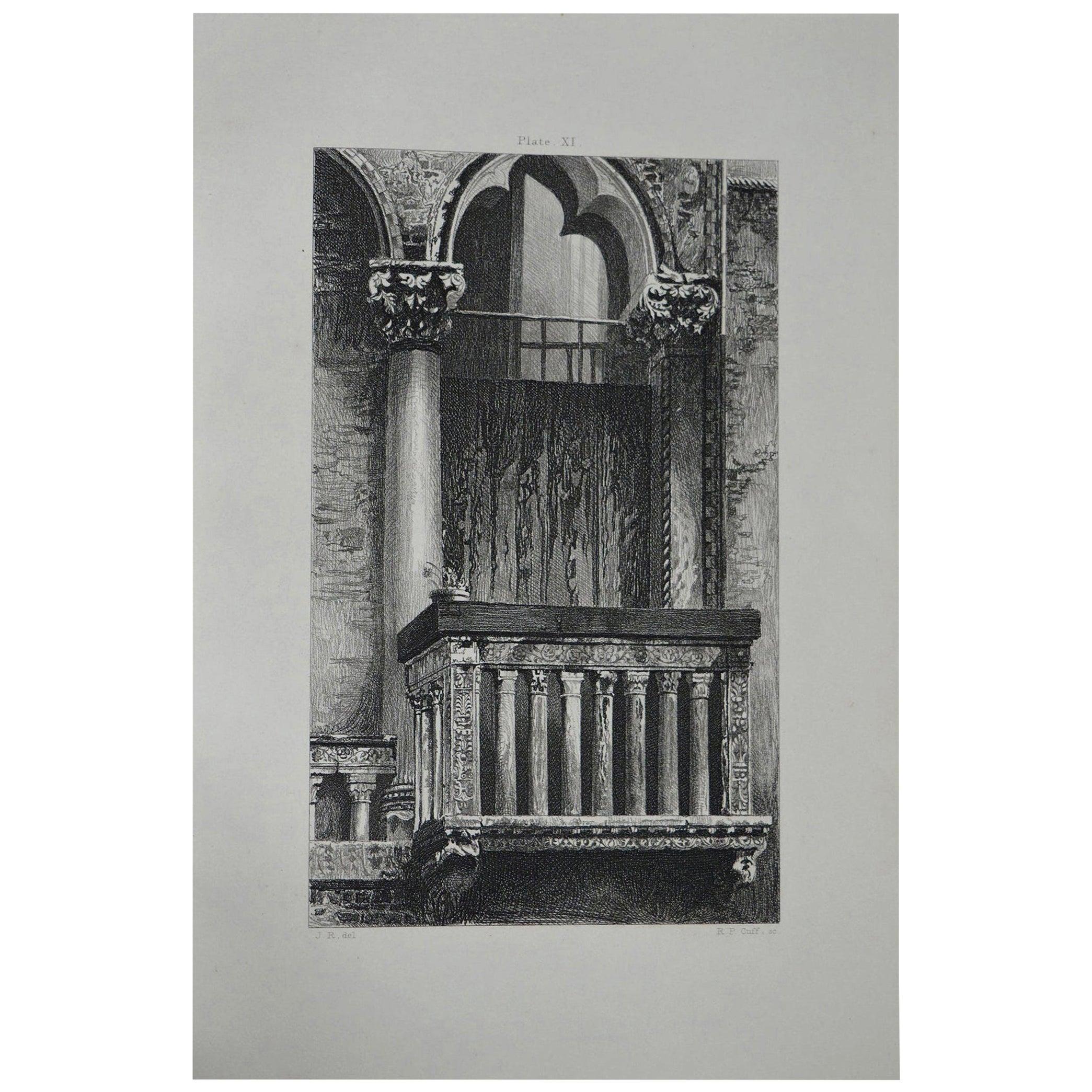 Original Antique Architectural Print by John Ruskin, circa 1880, 'Venice'