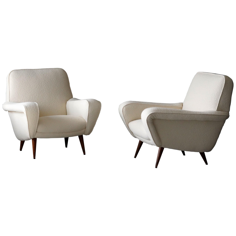 Gianfranco Frattini, Rare Lounge Chairs, Bouclé, Wood, Cassina, Italy, 1955