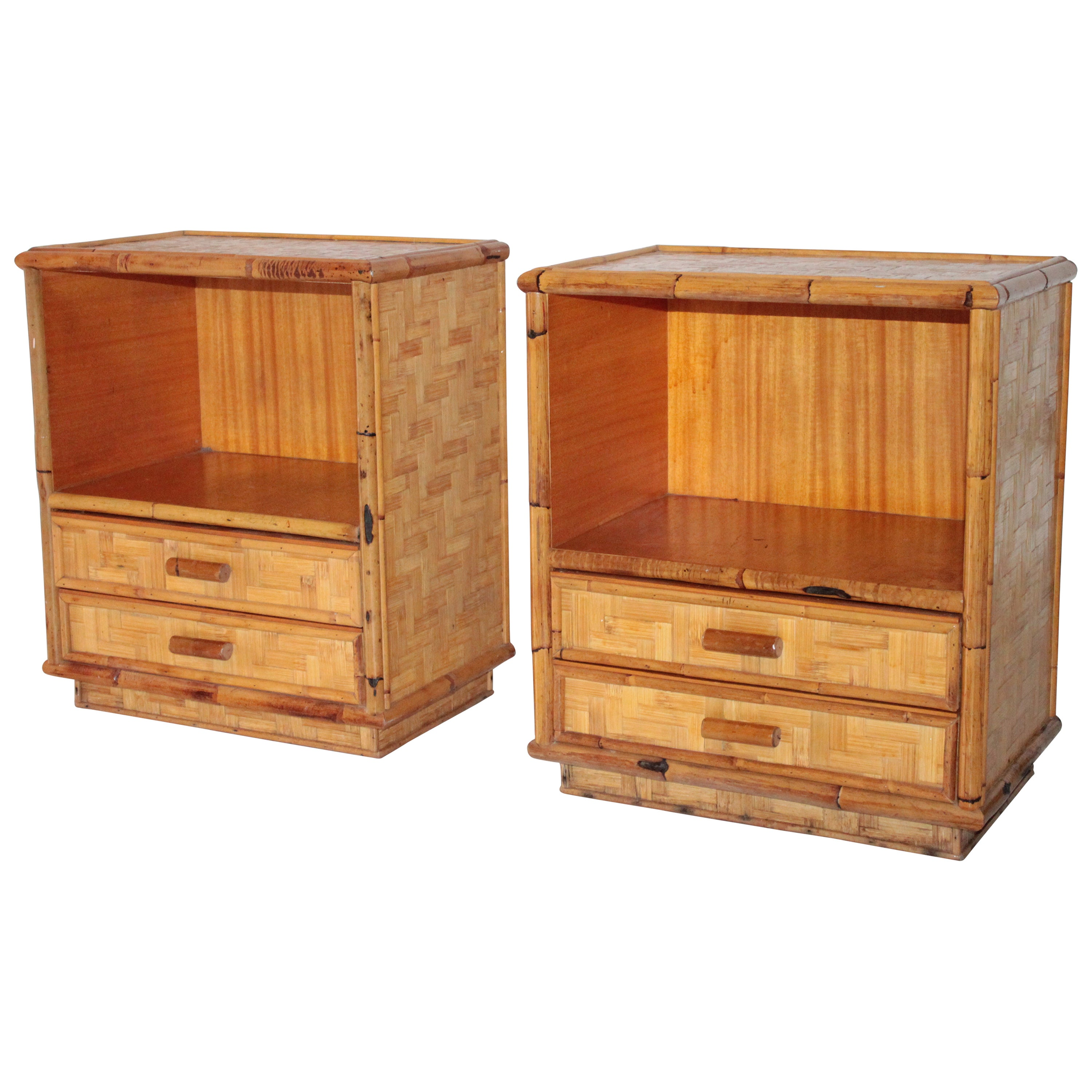 Pair of Wood and Bamboo Italian Bedside Tables 1970s Bonacina Style