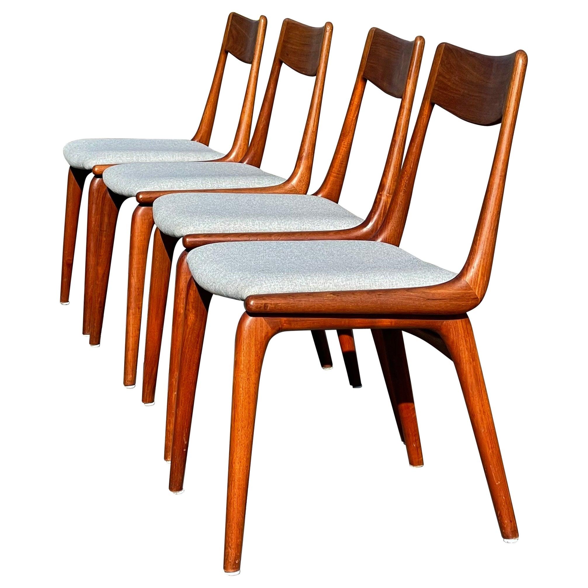 Midcentury Teak Boomerang Chairs #370 by E. Christensen for Slagelse, Set of 4