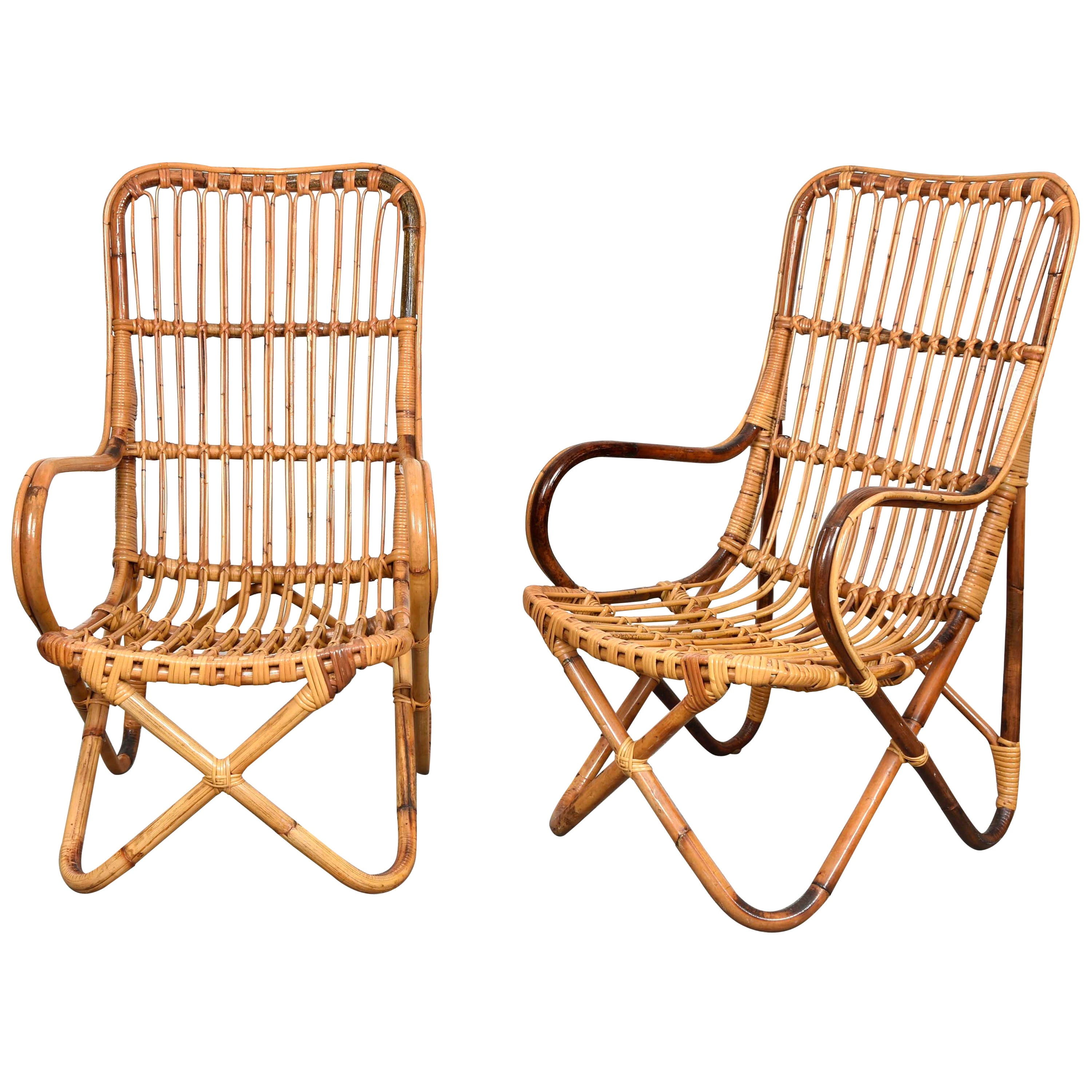 Pair of Midcentury Italian Wicker and Bamboo Armchairs after Tito Agnoli, 1960s