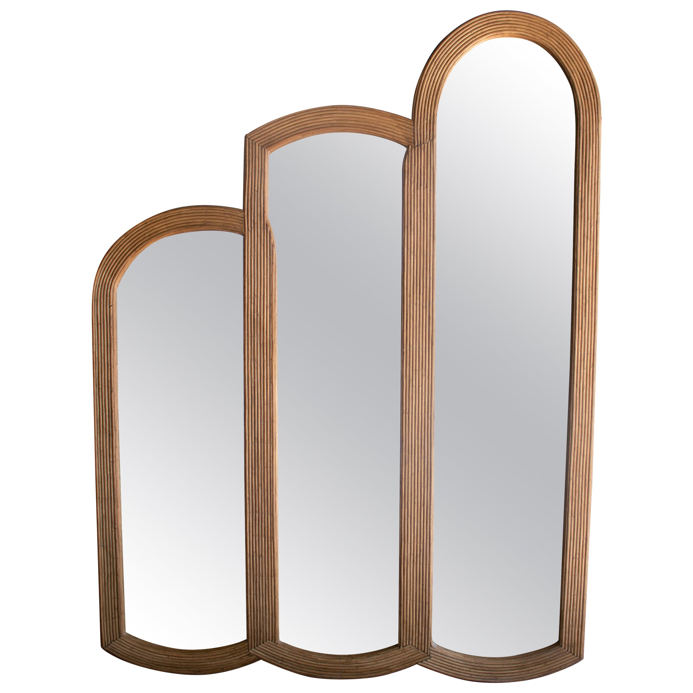 Spanish Three Panel Hand Made Bamboo Wall Mirror
